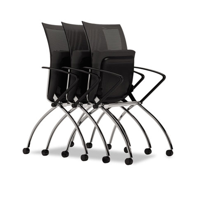 Valore High-Back Nesting Chair with Casters, Chrome w/Black (set of 2 chairs)