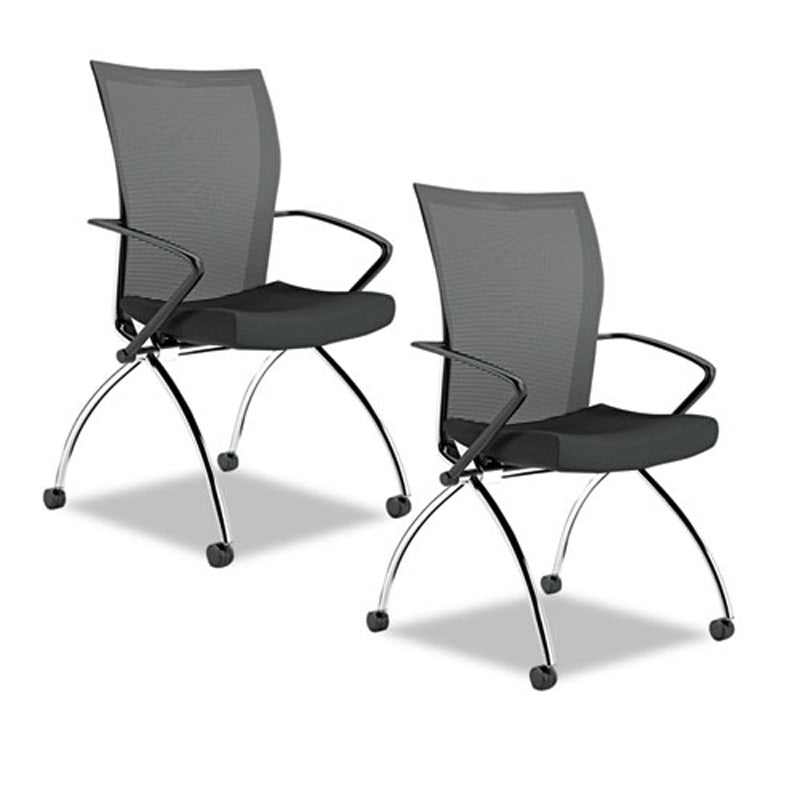 Valore High Back Nesting Chair With Casters, Chrome W/Black (set Of