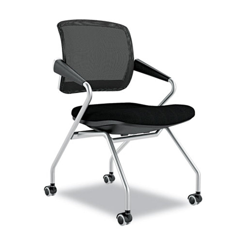 Valore Mid Back Nesting Chair With Casters, Chrome W/Black (set Of