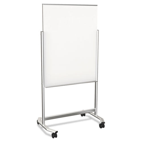 "Visionary Reversible Magnetic Glass Mobile Easel, 36""w x 48""h, w/ Aluminum Frame"
