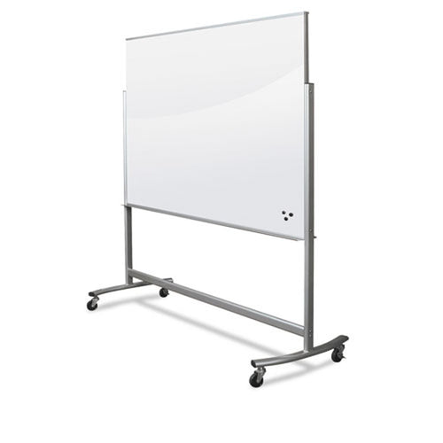 "Visionary Reversible Magnetic Glass Mobile Easel, 72""w x 48""h, w/ Aluminum Frame"