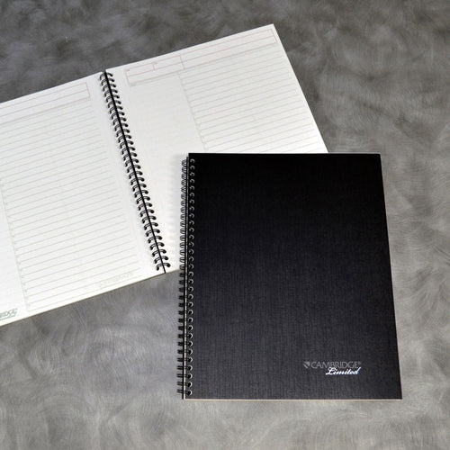 "Wirebound Business Notebook (Action Planner), 8 7/8"" x 11"", Wide Rule, 80 sheets, Black"
