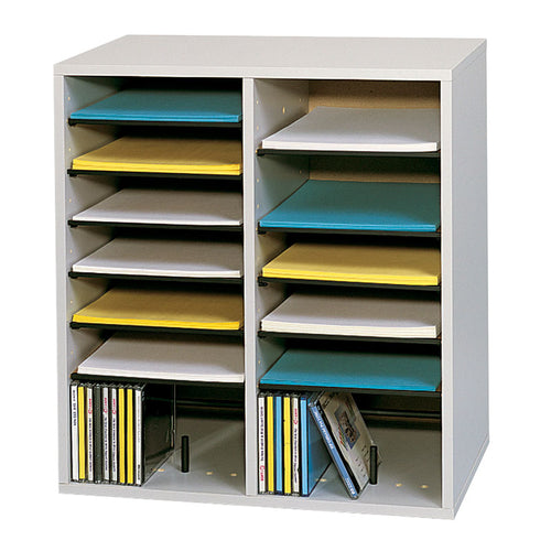 Wood 16-Compartment Adjustable Literature Organizer
