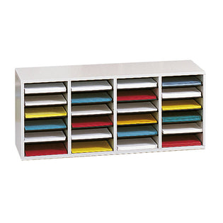 Wood 24-Compartment Adjustable Literature Organizer
