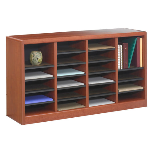 Wood 24-Compartment Literature Organizer