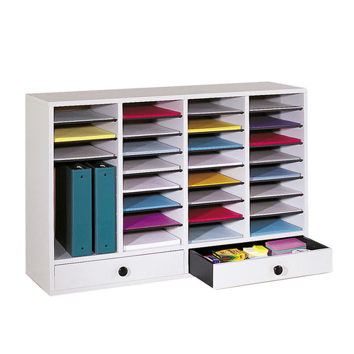 Wood 32-Compartment Literature Organizer w/ 2 Storage Drawers
