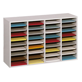 Wood 36-Compartment Adjustable Literature Organizer