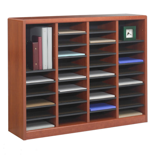 Wood 36-Compartment Literature Organizer