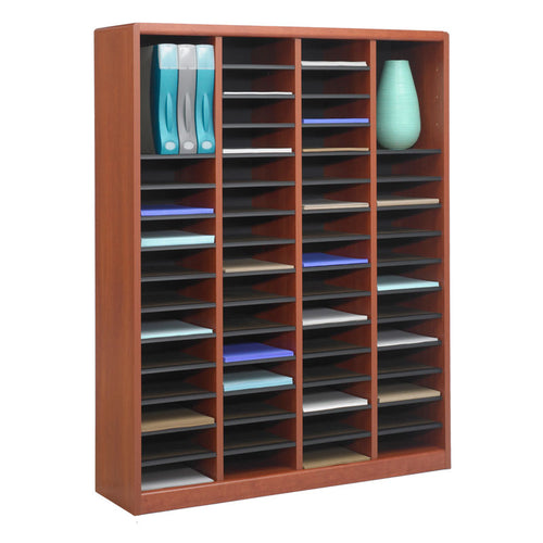 Wood 60-Compartment Literature Organizer