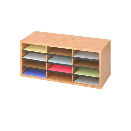 Wood/Corrugated 12-Compartment Literature Organizer