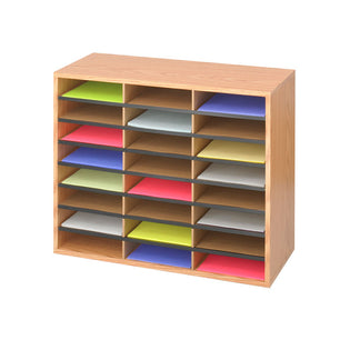 Wood/Corrugated 24-Compartment Literature Organizer