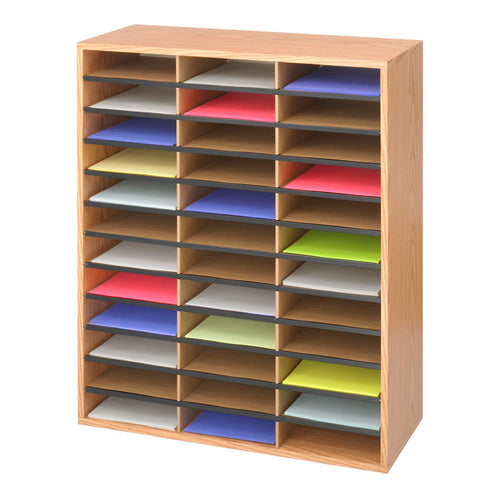 Wood/Corrugated 36-Compartment Literature Organizer