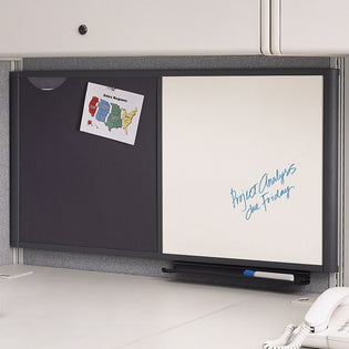 Workstation Dry-Erase Board w/ Grid & Bulletin Board Combo, Gray Frame