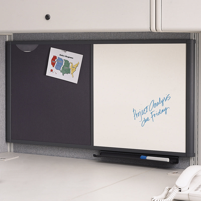 Workstation Dry Erase Board W/ Grid U0026 Bulletin Board Combo, Gray Frame