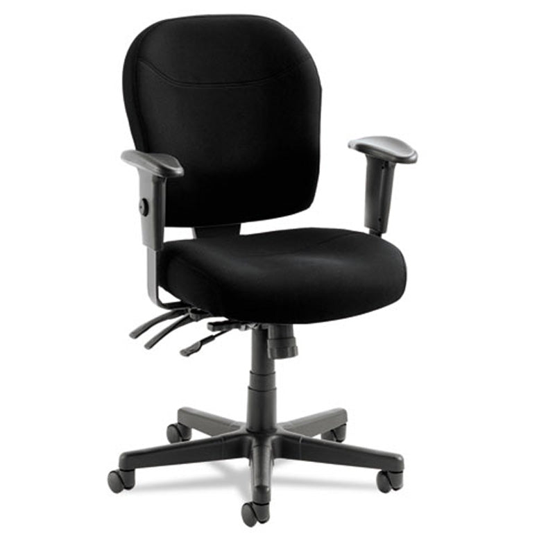 Wrigley High-Performance Mid-Back Multifunction Task Chair, Black w/Black