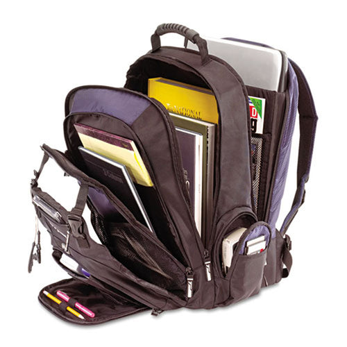 "XL Notebook Backpack (Fits laptops up to 17""), Black/Blue 840 & 420 Denier Nylon"