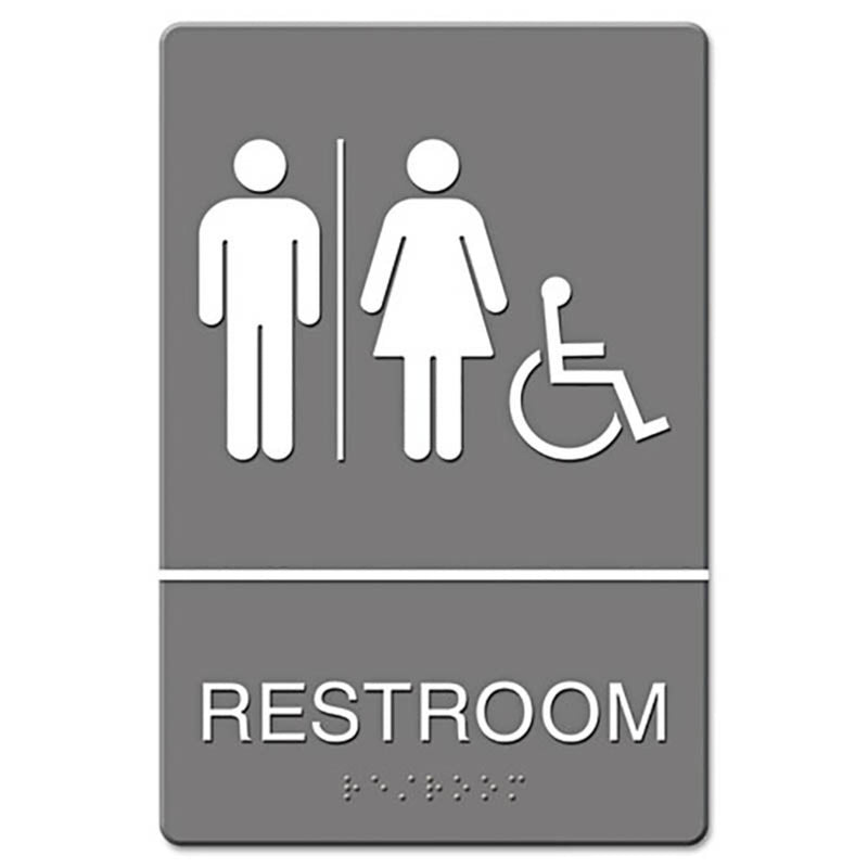 "ADA Sign, 6"" x 9"", Gray (7 models)"