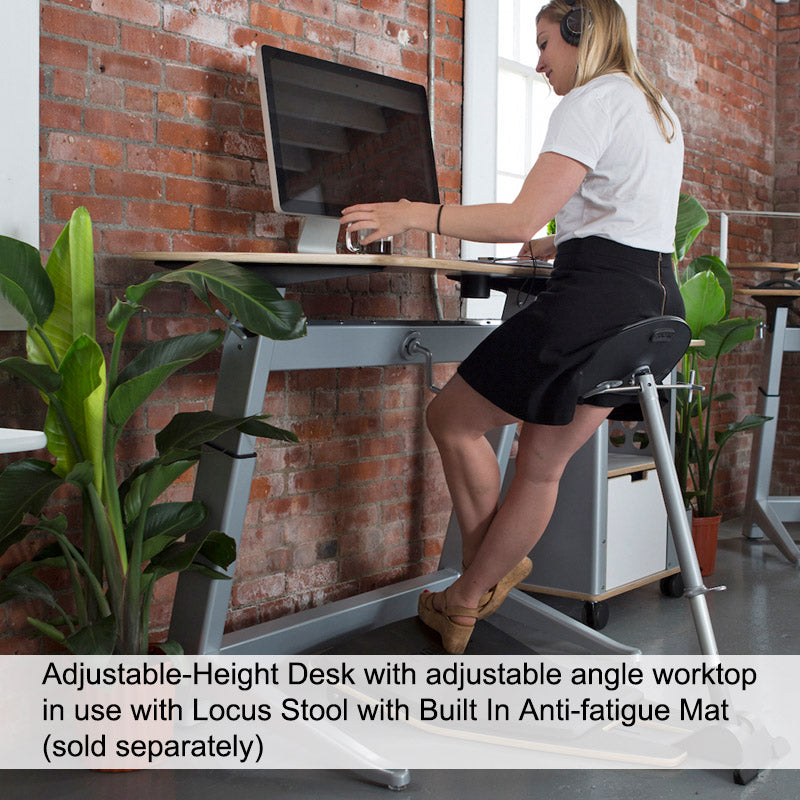 Adjustable-Height Desk with Adjustable-Angle Worktop