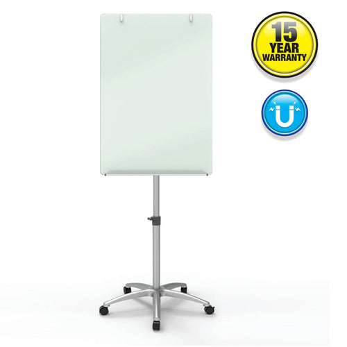 "Adjustable-Height Magnetic Glass Easel, 24"" x 36"" (board), White w/ Silver"