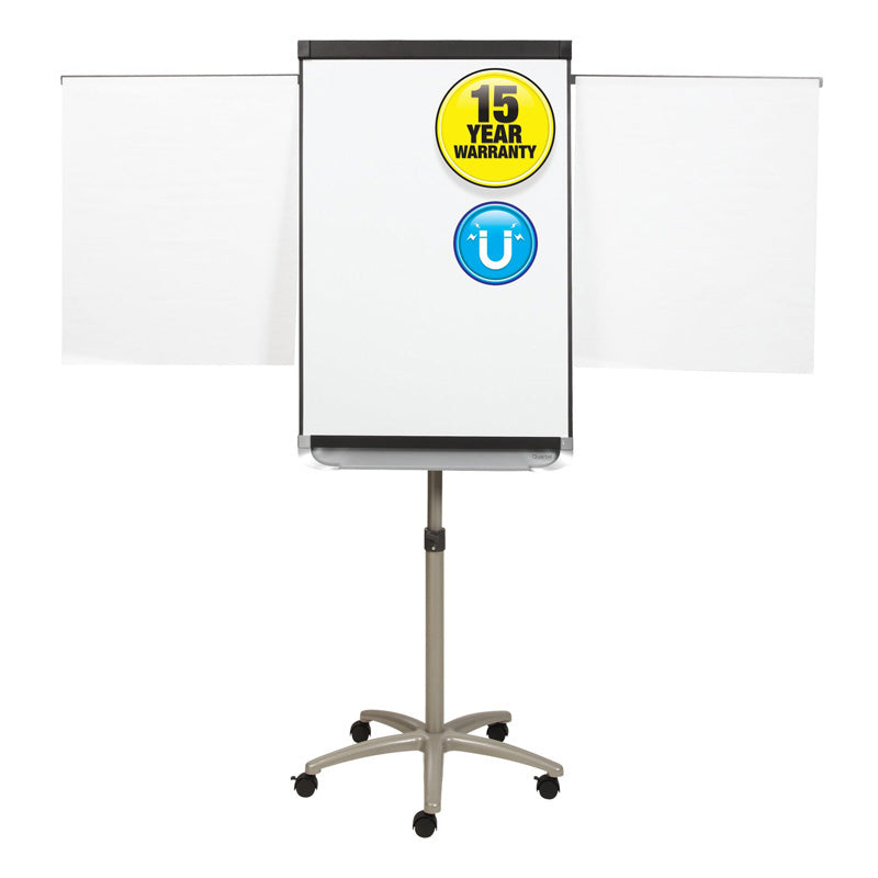 "Adjustable-Height Magnetic Whiteboard/Flipchart Easel, 24"" x 36"" (board) w/ Silver"
