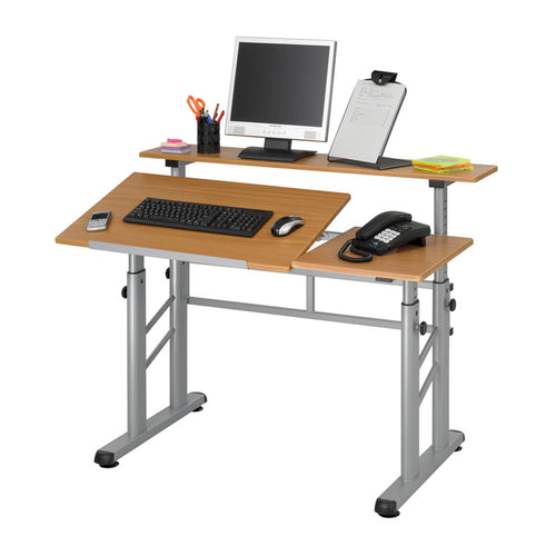 Adjustable-Height, Split-Level Table, Medium Oak w/ Silver