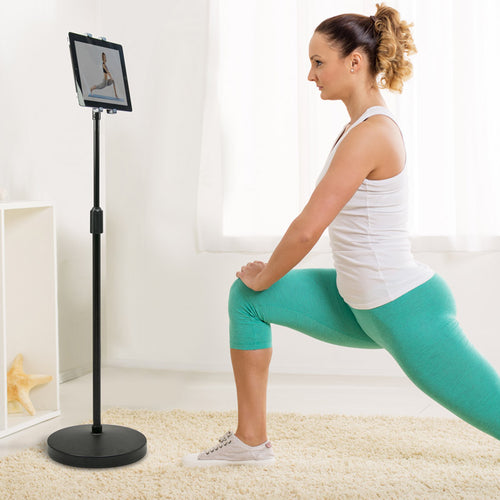Adjustable-Height Universal Floor Stand Tablet Holder w/ Weighted Base