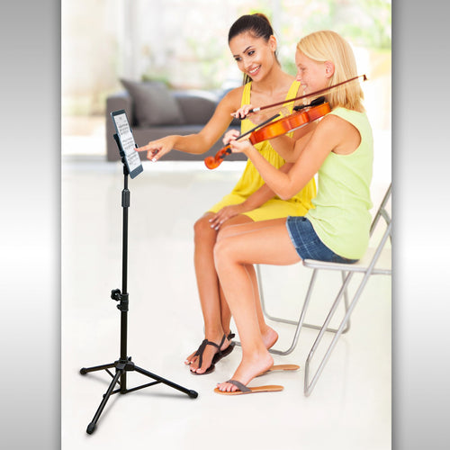 Adjustable-Height Universal Tripod Tablet Holder w/ Carry Bag