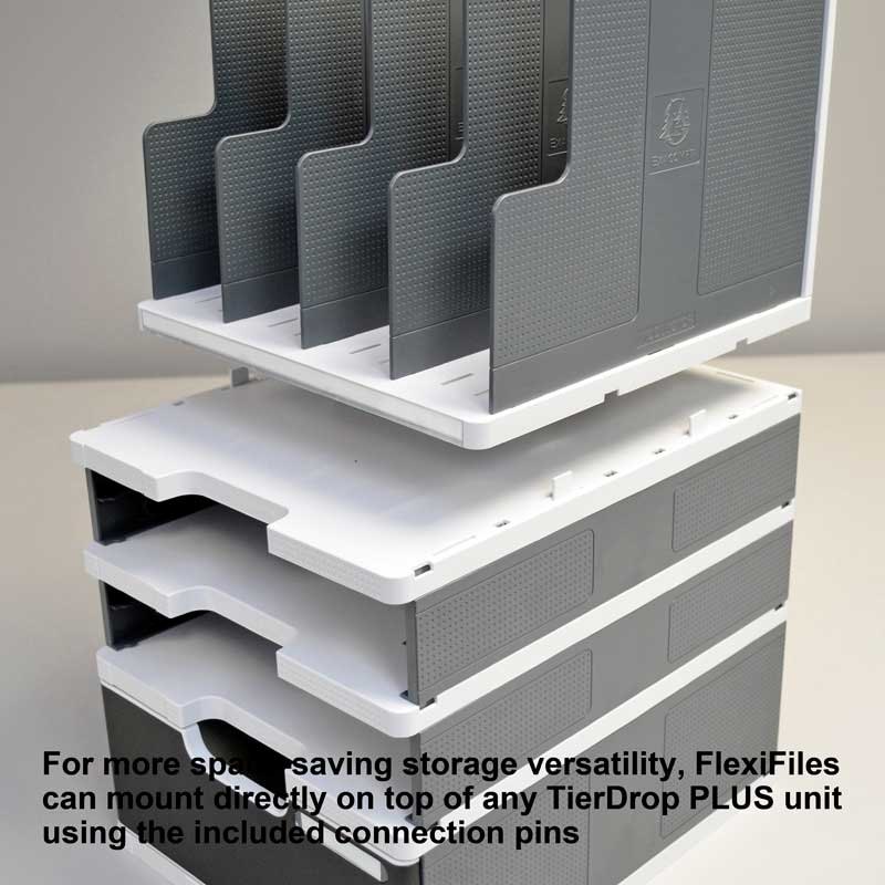 Ultimate Office FlexiFile Desktop Organizer, 4 Compartment Modular Vertical Sorter with Adjustable Dividers and Locking Connection Pins to Add Additional Units Side by Side at Any Time!