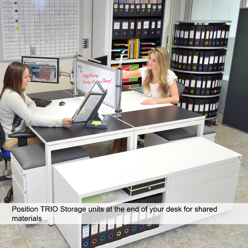 TRIO Low Profile Mobile Bookcase w/Adjustable Height Shelf