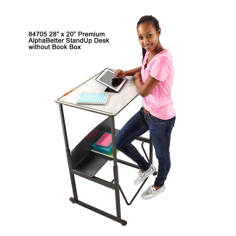 AlphaBetter Stand-Up Desk without Book Box, Premium Top, Gray
