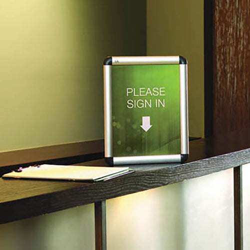 Aluminum Snap-Frame Sign Holder, Silver