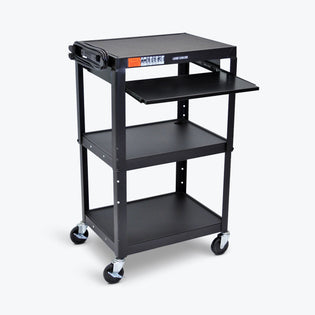 Adjustable-Height Steel Audio Visual Cart - Pullout Tray