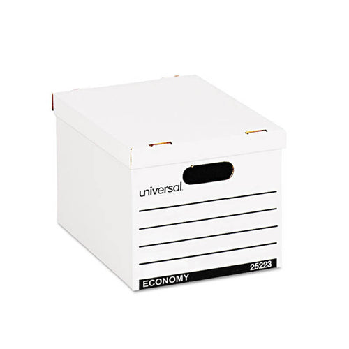 "Basic-Duty Economy Record Storage Boxes, Letter/Legal, 11 3/4""w x 14 3/4""d x 9 5/8""h White (set 10)"
