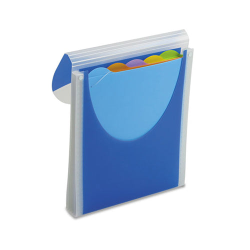 Big Mouth Poly Vertical Filer w/ 5 Color-Tabbed Folders, Letter, Dark Blue