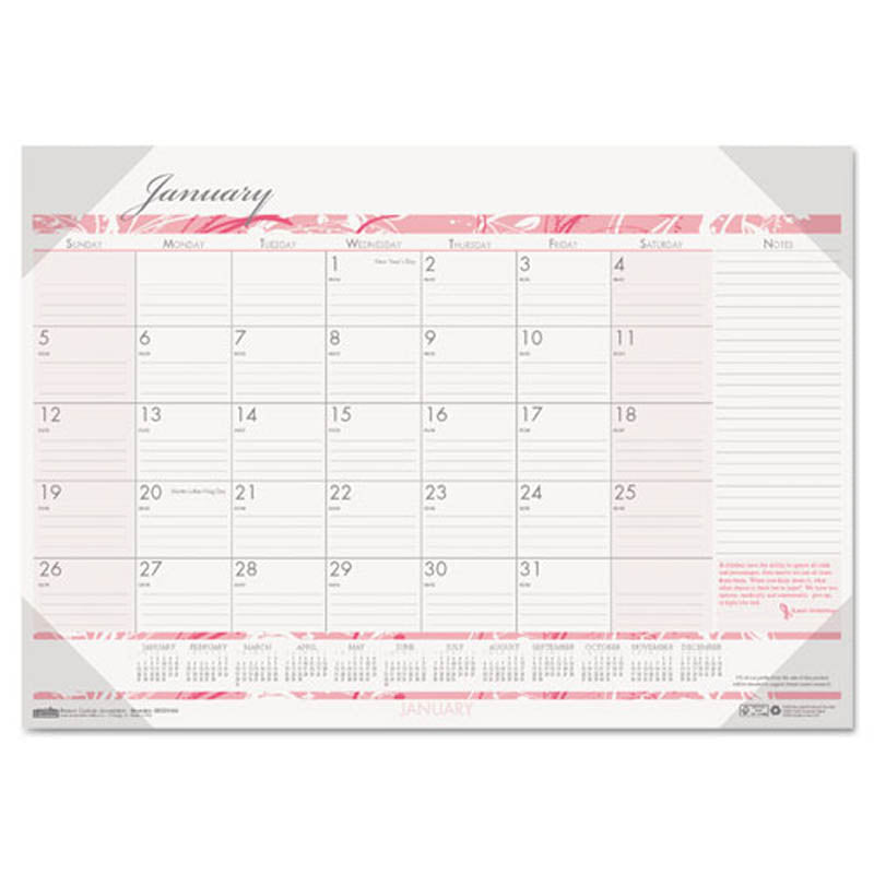Health Awareness Calendar 2020 Breast Cancer Awareness Monthly Desk Pad Calendar | Ultimate Office