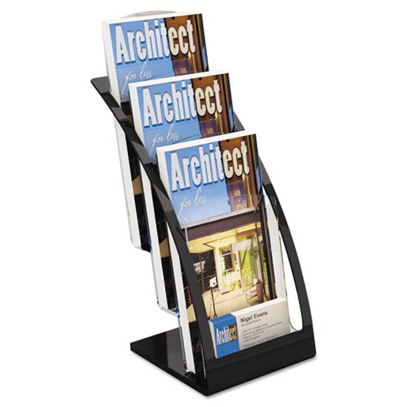3-Tier Brochure Display w/ Business Card Pocket | Ultimate Office