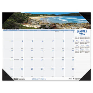Coastlines Photographic Monthly Desk Pad Calendar, 2021