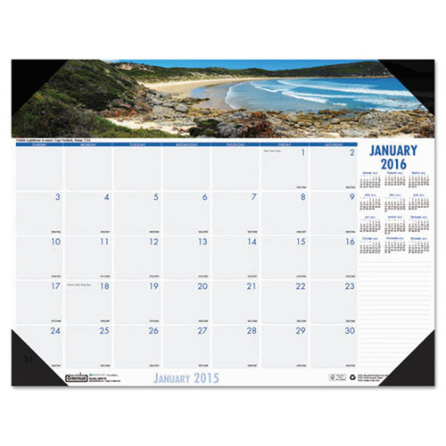 Coastlines Photographic Monthly Desk Pad Calendar, 2019