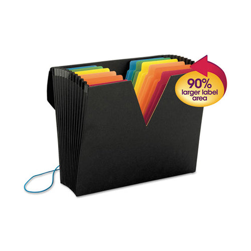 ColorVue Expanding File w/ SuperTab, 13 Pockets, Letter, Black w/ Assorted