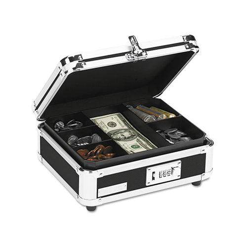 Combination Locking Cash Box, Black/Chrome