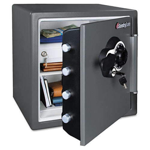 "Combination Water/Fire Resistant Safe, 12 5/8""w x 12""d x 13 7/8""h (interior dimensions), Gray"