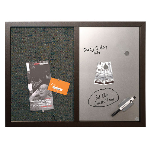 "Combo Magnetic Silver Board & Fabric Bulletin Board, 24"" x 18"""