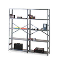 Commercial Steel Shelving, Five-Shelf, Medium Gray