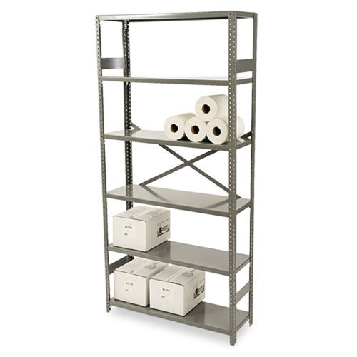 Commercial Steel Shelving, Six-Shelf, Medium Gray