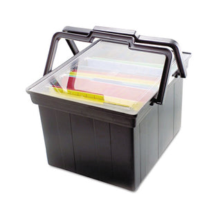 "Companion Portable File w/ See-Thru Lid, 17""w x 14""d x 11""h, Letter/Legal, Black"