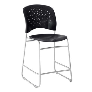 Counter-Height Chair, Round Plastic Back & Seat w/ Silver Sled Base