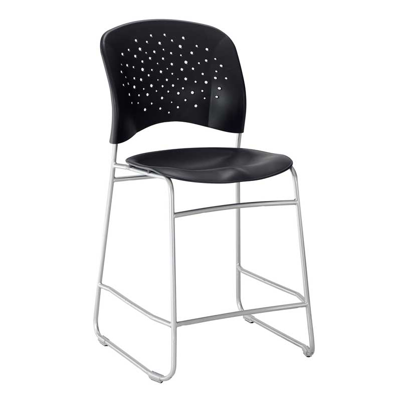 Miraculous Counter Height Chair Round Plastic Back Seat W Silver Sled Base Pabps2019 Chair Design Images Pabps2019Com