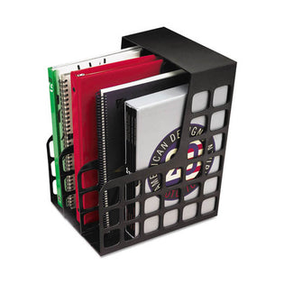 "DecoRack Magazine File w/ 2 Snap-In Dividers, 9""w x 10 5/8""d x 12""h, Black"