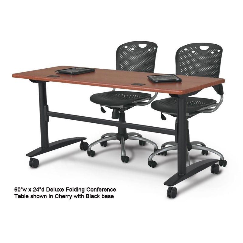 Deluxe Folding Conference Table, Black w/Cherry