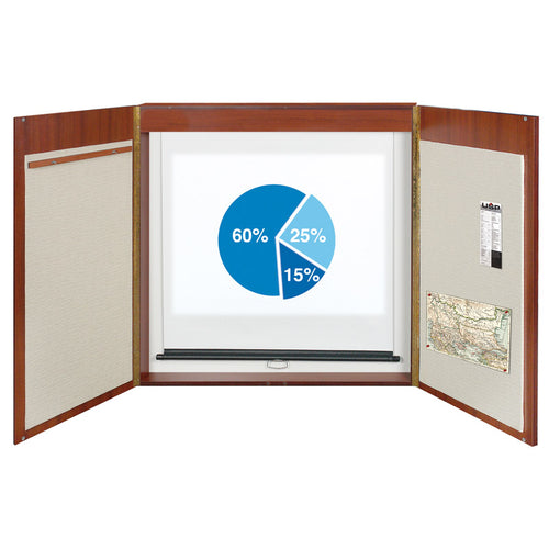 "Deluxe Porcelain Magnetic Dry-Erase Conference Cabinet, 48"" x 48"""